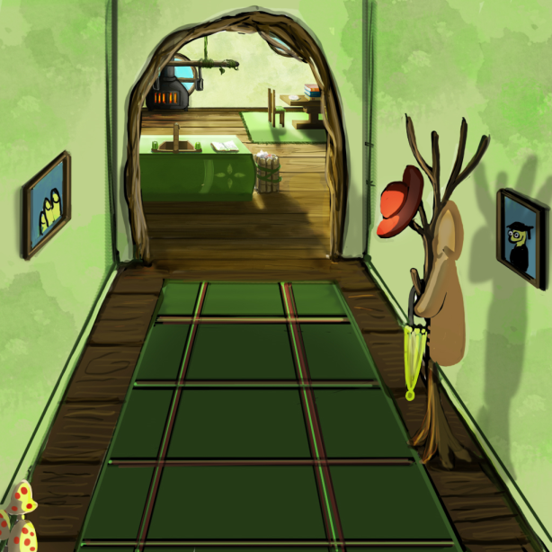 Bookworm's hallway leading to kitchen area.