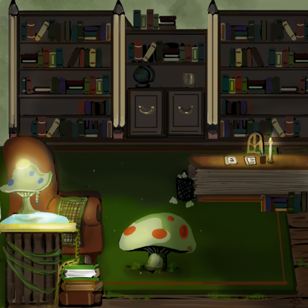 Bookworm's living room area/study.